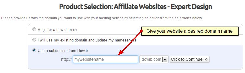 Step 1) Create a domain for your website