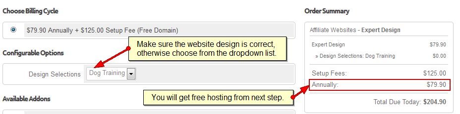 Step 2) Configure – Select your website design
